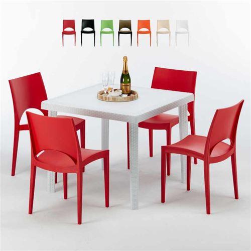 Table Carrée Blanche 90x90cm Avec 4 Chaises Colorées Grand Soleil Set Extérieur Bar Café PARIS LOVE, Couleur: Rouge