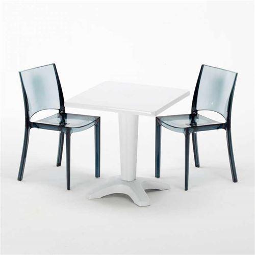 Table et 2 chaises colorées polycarbonate extérieurs Grand Soleil CAFFÈ, Chaises Modèle: B-Side Noir Anthracite Transparent, Couleur de la table: Blanc