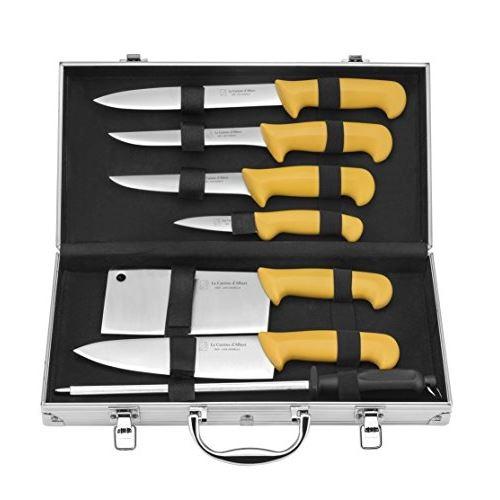 La cuisine dalbert 001000 lot de 8 mallettes du chef acier inoxydable polypropylène jaune 40 cm