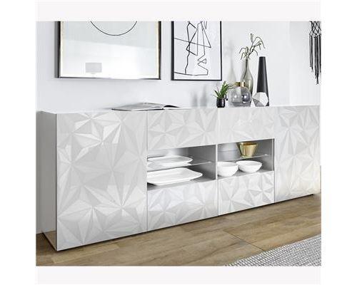 Enfilade 2 portes 4 tiroirs design blanc laqué NINO-L 241 x P 42 x H 84 cm- Blanc