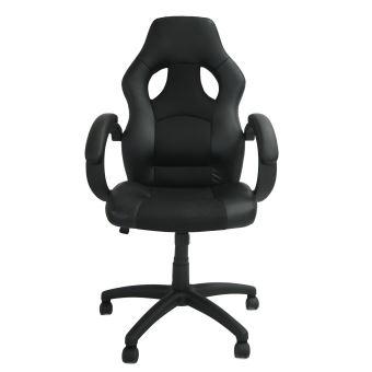 Chaise Pour Gaming Siege De Bureau Racing Noir Simili Cuir Et Maille Espacee Dimensions 115 X 65 Cm