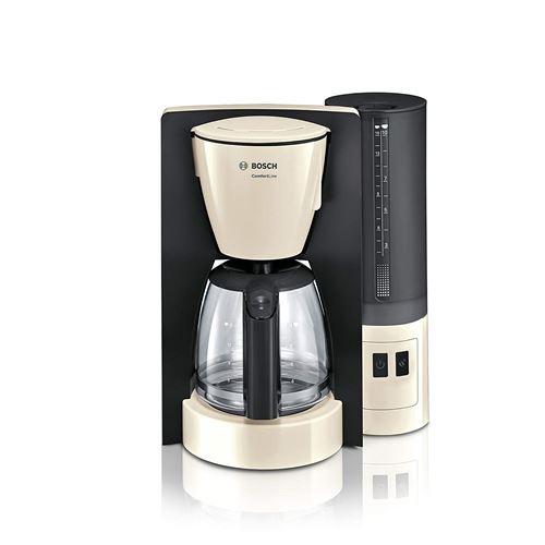 Bosch tka6 a047 Comfort Line Cafetière Filtre (1200 W, Théière en Verre, arrêt automatique), crème/Black Grey
