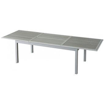 Table extensible Azua en bois 12 personnes gris / silver mat Hespéride