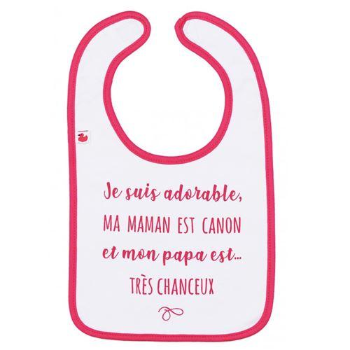 Bavoir bébé personnalisé - Je suis adorable, maman est canon, et papa très chanceux