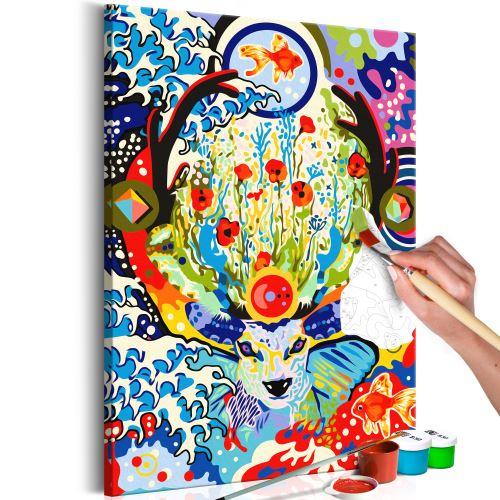 Tableau à peindre par soi-même - Deer and Flowers - Décoration, image, art | Peinture par numéros | Kits de peinture pour adultes | 40x60 cm |