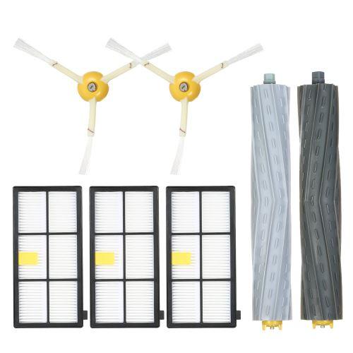Pack de 7 accessoires de rechange pour iRobot Roomba 800 et 900 Series 805 860 861 864 866 870 880 890 891 894 960 961 964 966 980 Aspirateur - Brosse d'aspiration de débris sans enchevêtrement + Brosse latérale + Filtre HEPA
