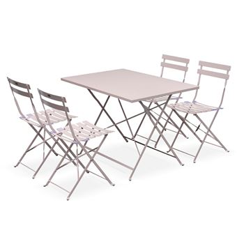Salon de jardin bistrot pliable Emilia rectangulaire rose pale- Table  110x70cm