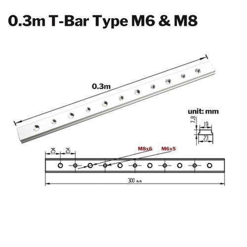 Jeu de glissières en T en alliage d'aluminium pour curseur en bois T-Track en T 300 mm + vis