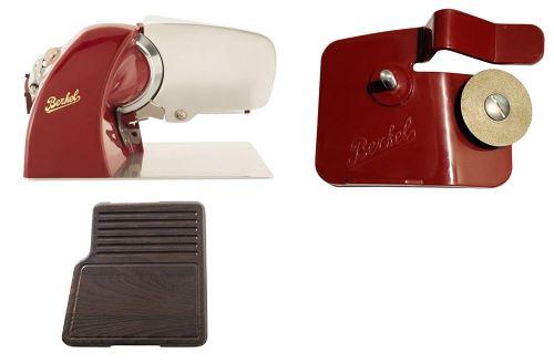 Berkel - Home Line 200 Rouge + Planche à Découper Traité Thermiquement + Affûteur d'accessoires pour Home Line