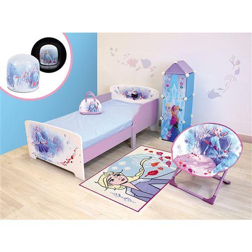 Chambre complète 6 en 1 Reine des Neiges 2 Disney = lit + sac de -bowling- + siège lune + lampe gonflable + tapis + étagère 3 casiers