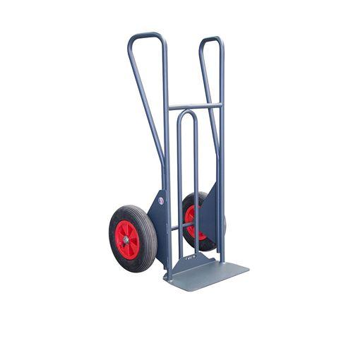 Fimm - Diable standard à poignées fermées charge 300 kg bavette fixe et roues PN Ø 400 mm