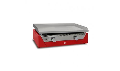 Plancha éléctrique Rainbow - 70 x 40 cm - Jusqu'à 10 personnes - 6600W - Plaque acier laminé au carbone - Rouge