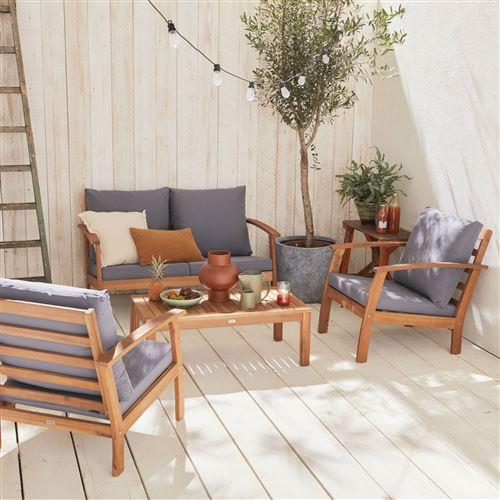 Salon de jardin en bois 4 places - Ushuaïa - Coussins Gris canapé fauteuils et table basse en acacia design
