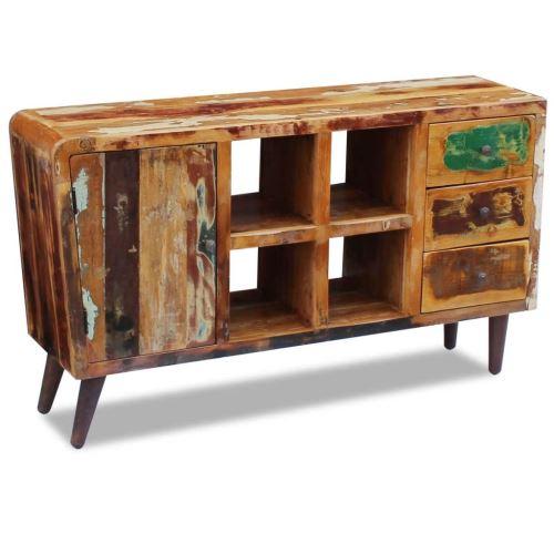 Meelady Buffet Bois de récupération massif Avec porte, 4 compartiments et 3 tiroirs 150 x 40 x 86 cm