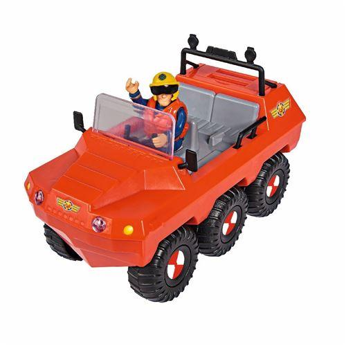 Set de Jeu Pompier Sam avec véhicule amphibie 19 cm Rouge