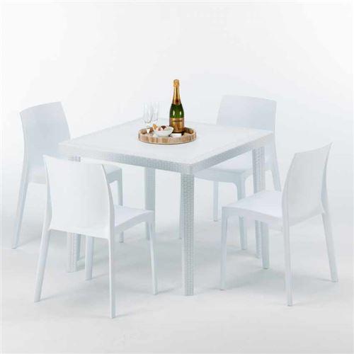 Table Carrée Blanche 90x90cm Avec 4 Chaises Colorées Grand Soleil Set Extérieur Bar Café ROME LOVE, Couleur: Blanc