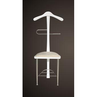 Valet de nuit blanc sous forme de chaise en hêtre massif et fer et d ...
