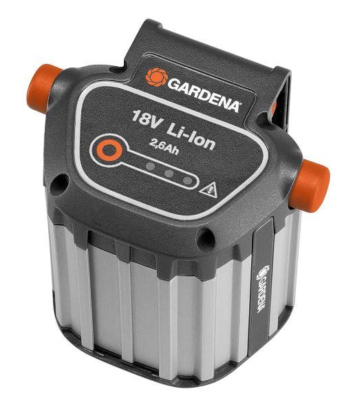 Batterie système BLi-18 de GARDENA : accessoires pour de nombreuses tondeuses, souffleurs et taille-haies GARDENA, puissance de 18 V avec capacité de 2,6 Ah, durée de charge env. 4 h (9839-20)