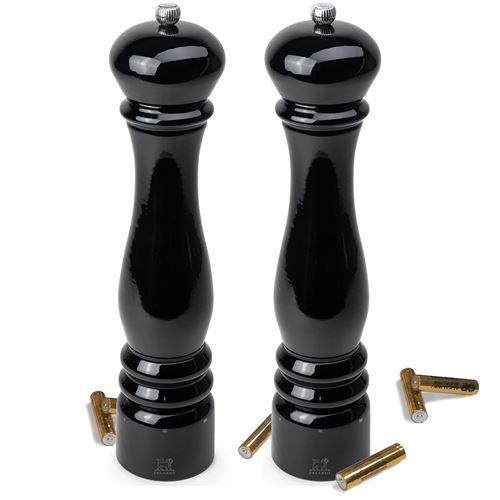 duo moulins sel électrique + poivre 34 cm laqué noir - 36249 + 36256
