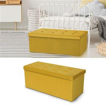 tout neuf 27a94 1f2f0 Banc coffre rangement 100 cm en velours jaune - Achat & prix ...