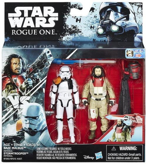 Coffret de 2 figurines star wars rebels : stormtrooper et baze malbus 9,5 cm - mission dans l espace - hasbro