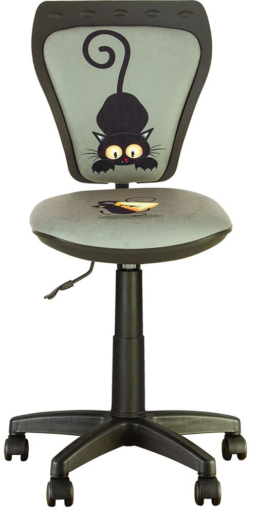 Chaise, Fauteuil De Bureau Enfant Ministyle Chat Et Souris Gris.