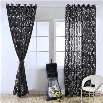 paire de rideau voilages 100 250cm feuillet noir