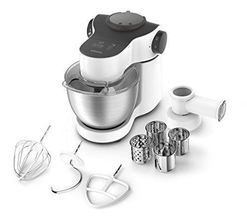 Krups ka2521 robot de cuisine master perfect, 4 l, 700 w, avec accessoires, acier inoxydable blanc