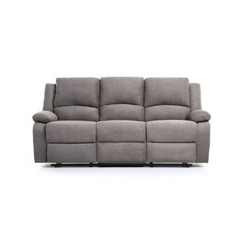 acheter pas cher 75b00 df21c Canapé Relaxation 3 places Microfibre DETENTE - Couleur - Gris
