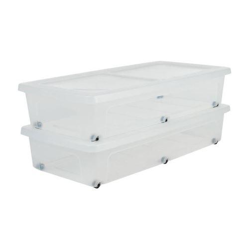 13 84 Sur Iris Ohyama Lot De 2 Boites De Rangement Sous Lit Modular Clear Box Mcb Ub Plastique 35 L 80 X 40 X 16 Cm Transparent Achat Prix Fnac