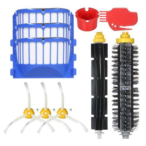 Blusea Pack de 10 Kit d'accessoires de rechange pour Roomba série iRobot 690/691/694 et plus Aspirateur - Brosse à poils + brosse flexible + brosses latérales + filtre + outil de nettoyage