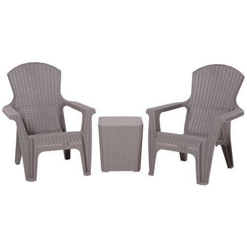 Salon de jardin 2 pers. 3 pièces - ensemble bistro style néo-rétro - 2 fauteuils lounge + table basse coffre - polypropylène gris imitation rotin