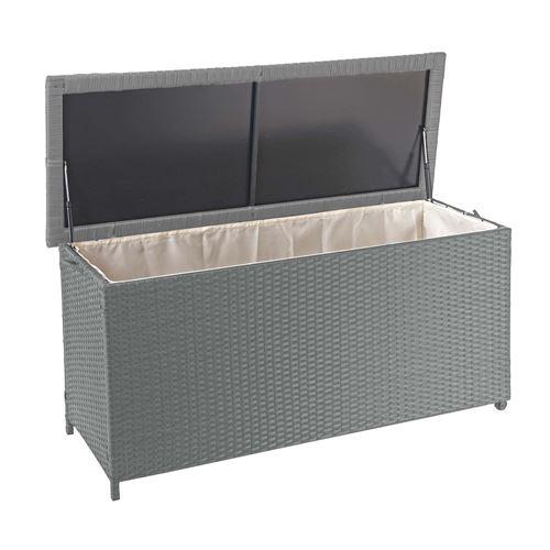 Coffre à coussins en polyrotin, HWC-D88, coffre jardin ~ Premium gris, 63x135x52 cm, 320l