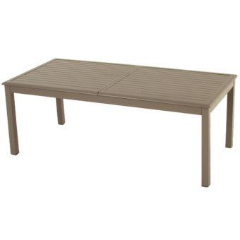 Table extensible en aluminium de couleur taupe- Dim : L 200 ...