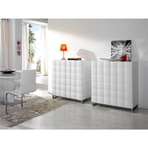 Buffet 4 portes en bois laqué blanc brillant effet 3D LOMA