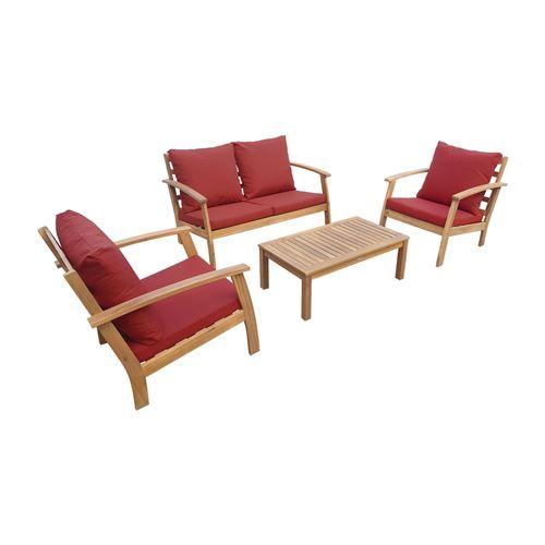 Salon de jardin en bois 4 places - Ushuaïa - Coussins terracotta canapé fauteuils et table basse en acacia design