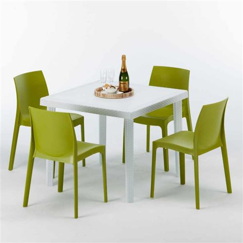 Table Carrée Blanche 90x90cm Avec 4 Chaises Colorées Grand Soleil Set Extérieur Bar Café ROME LOVE, Couleur: Anis vert