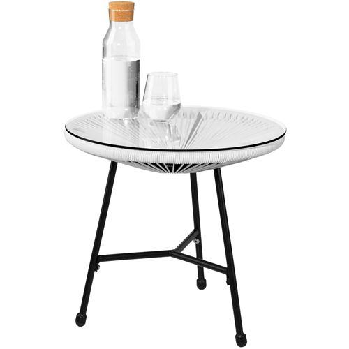 TECTAKE 2 Fauteuils Acapulco et 1 Table de Jardin de Salon Design rétro  Cadre en Acier Blanc