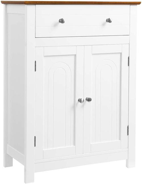Meuble salle de bain buffet rangement surface bois 60 x 30 cm blanc