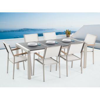 Beliani - Table de jardin acier inox - plateau granit triple noir flambé  180 cm avec 6 chaises en textile blanc - Grosseto