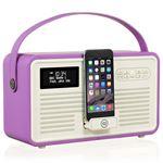 Radio numérique VQ Retro MK II Dab & Dab+ avec FM, Bluetooth, Dock Lightning Apple et réveil - Orchidée radiante