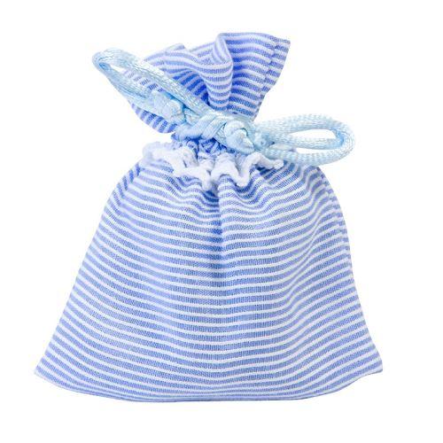 4 pochons rayures bleu baptême 8 x 10 cm