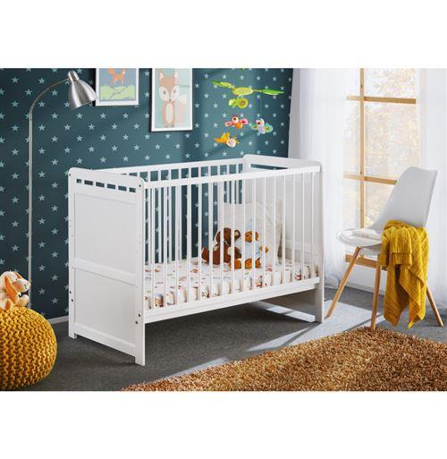 Lit pour bébé avec matelas - Tymek - L 124 x l 67 x H 56,90 cm - Blanc