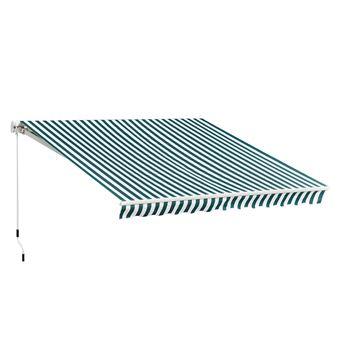 Store Banne Manuel De Jardin Terrasse Auvent Retractable Structure En Alu 3 95l X 3l M Vert Et Blanc