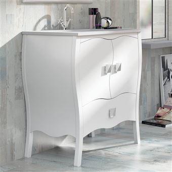 Meuble salle de bain 80 cm laqu blanc vasque c ramique alcazar installations salles de - Meuble salle de bain blanc laque ...
