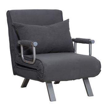 acheter populaire 7b4d7 6b7d7 Fauteuil chauffeuse canapé-lit convertible 1 place déhoussable grand  confort coussin pieds accoudoirs métal suède gris