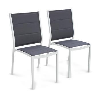 Lot de 2 chaises Chicago en aluminium blanc et textilène gris foncé