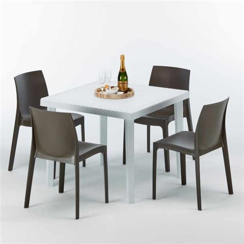 Table Carrée Blanche 90x90cm Avec 4 Chaises Colorées Grand Soleil Set Extérieur Bar Café ROME LOVE, Couleur: Marron
