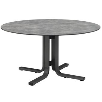 Table ronde en aluminium et HPL anthracite/anthracite - Dim ...