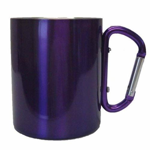 tasse à boire avec mousqueton aluminium violet 300 ml